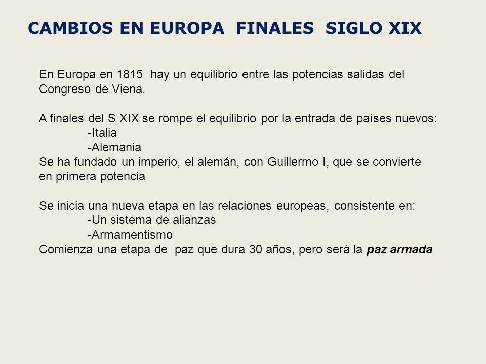 CAMBIOS EN EUROPA FINALES SIGLO XIX