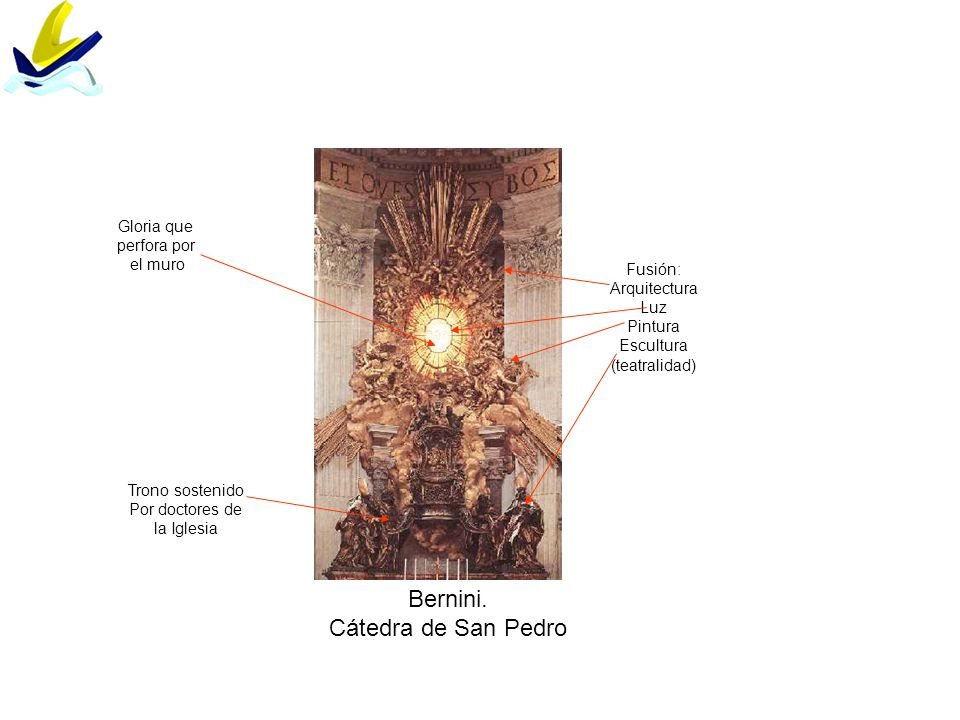 Bernini. Cátedra de San Pedro Gloria que perfora por el muro Fusión: