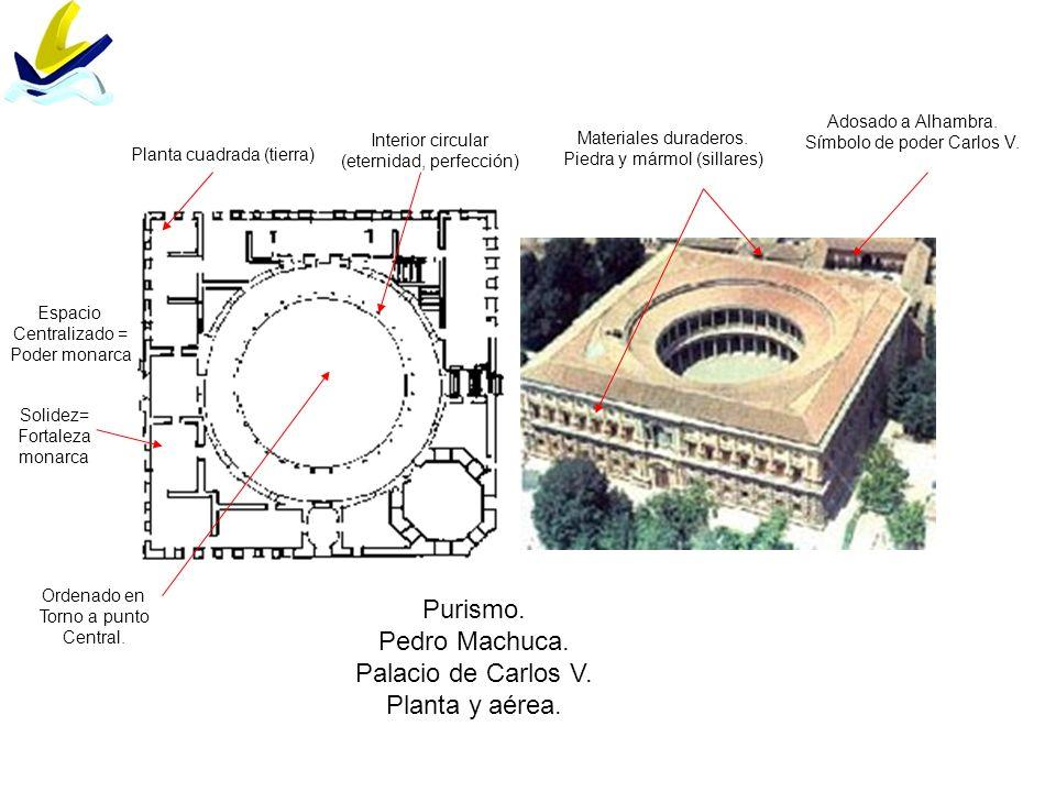Purismo. Pedro Machuca. Palacio de Carlos V. Planta y aérea.