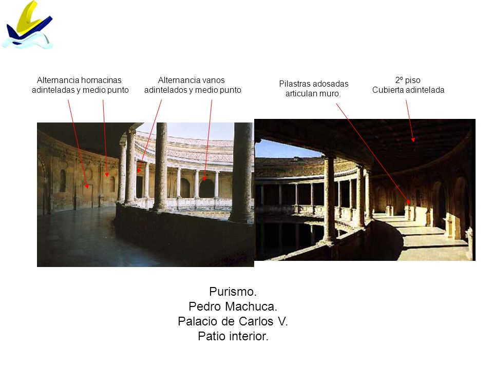 Purismo. Pedro Machuca. Palacio de Carlos V. Patio interior.