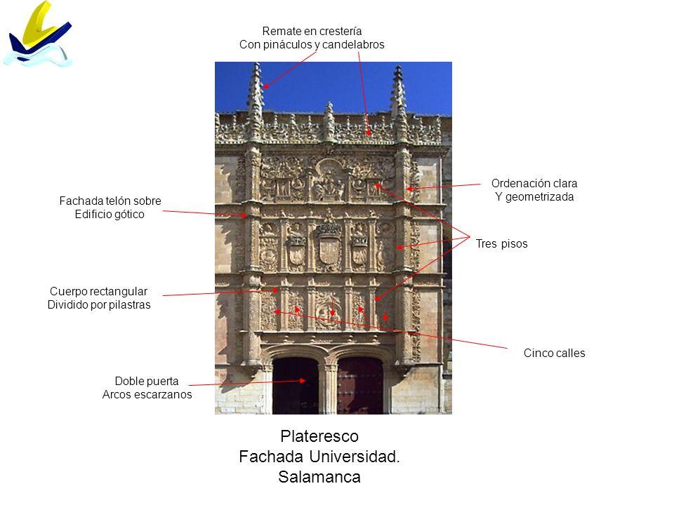 Plateresco Fachada Universidad. Salamanca Remate en crestería