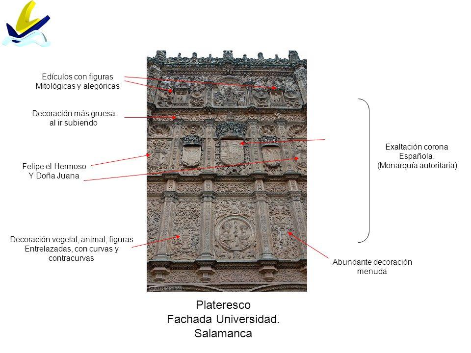 Plateresco Fachada Universidad. Salamanca Edículos con figuras