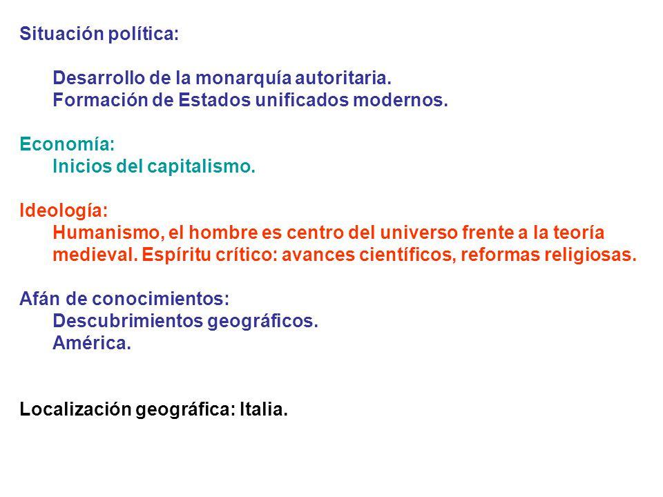 Situación política: Desarrollo de la monarquía autoritaria. Formación de Estados unificados modernos.