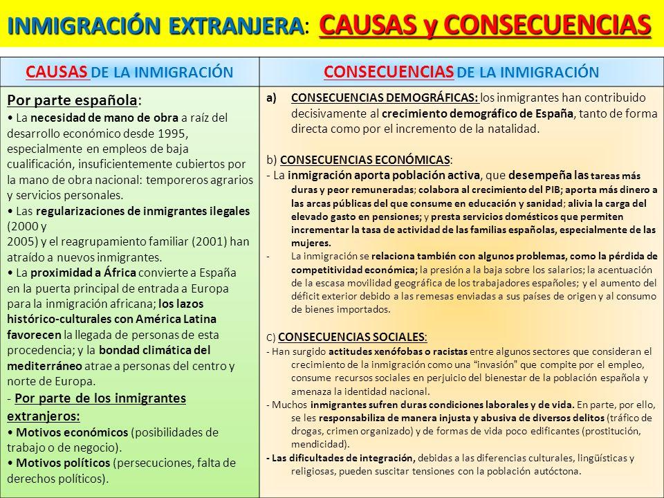 INMIGRACIÓN EXTRANJERA: CAUSAS y CONSECUENCIAS