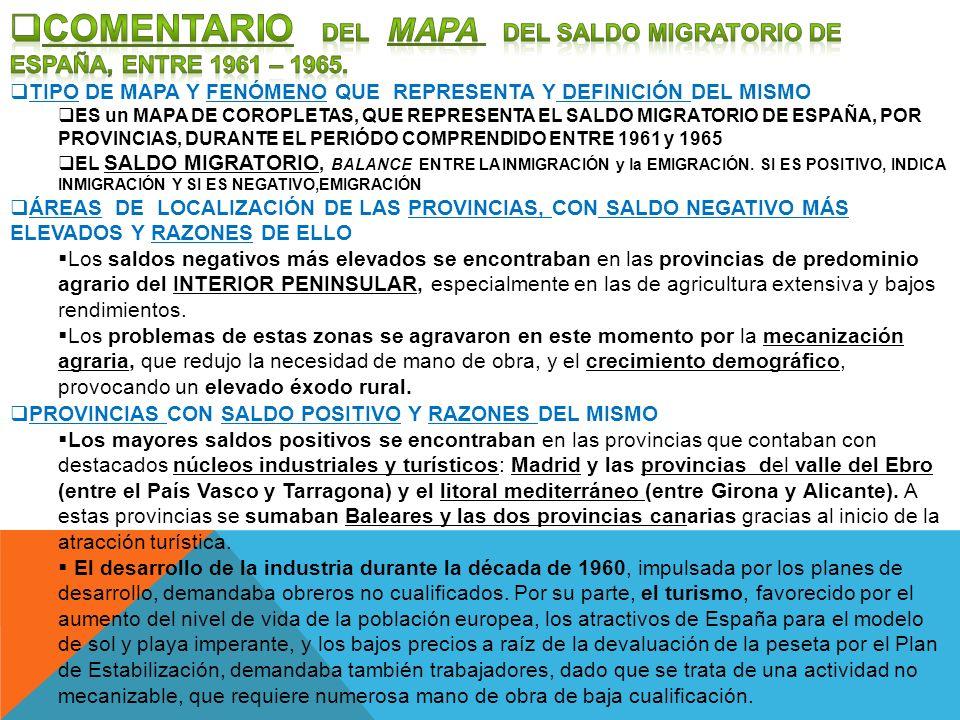 COMENTARIO DEL MAPA DEL SALDO MIGRATORIO DE ESPAÑA, ENTRE 1961 – 1965.