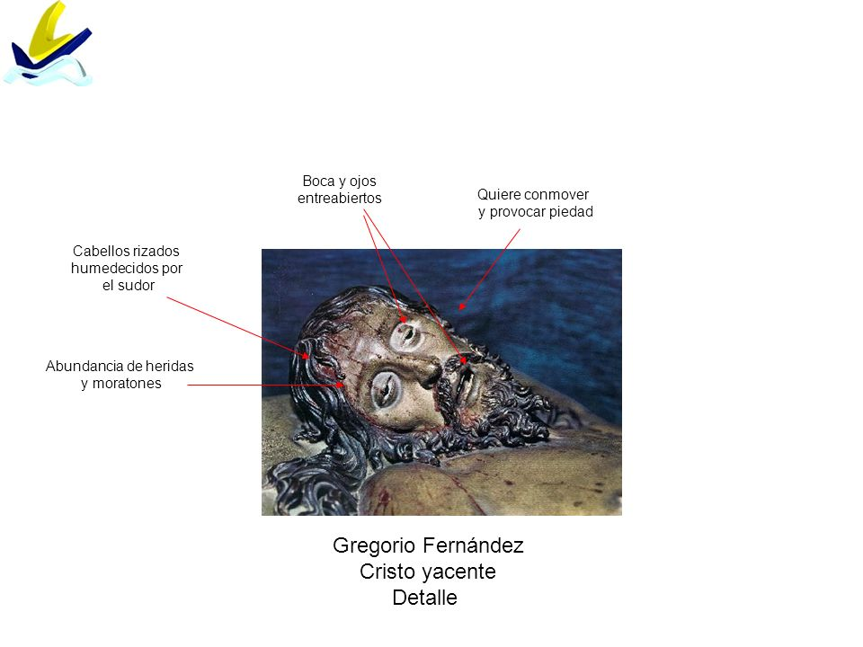 Gregorio Fernández Cristo yacente Detalle Boca y ojos entreabiertos