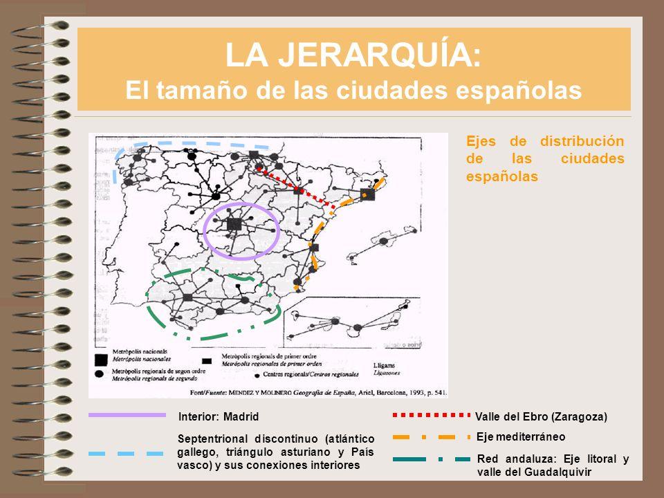LA JERARQUÍA: El tamaño de las ciudades españolas