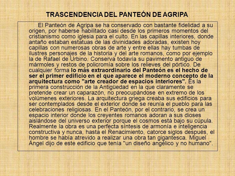 TRASCENDENCIA DEL PANTEÓN DE AGRIPA