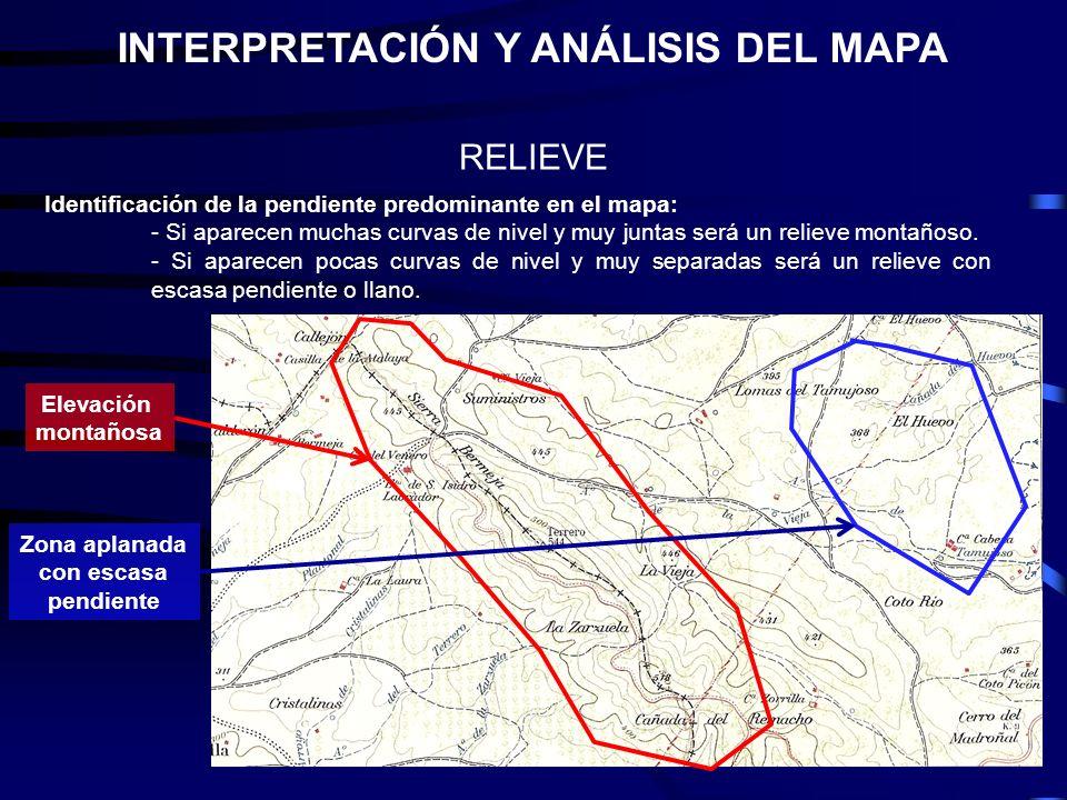 INTERPRETACIÓN Y ANÁLISIS DEL MAPA Zona aplanada con escasa pendiente