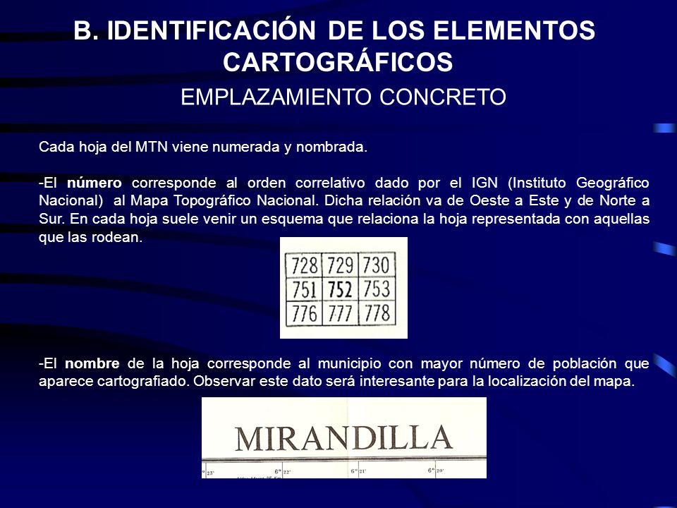 B. IDENTIFICACIÓN DE LOS ELEMENTOS