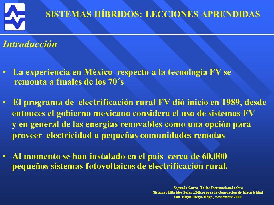 Introducción La experiencia en México respecto a la tecnología FV se