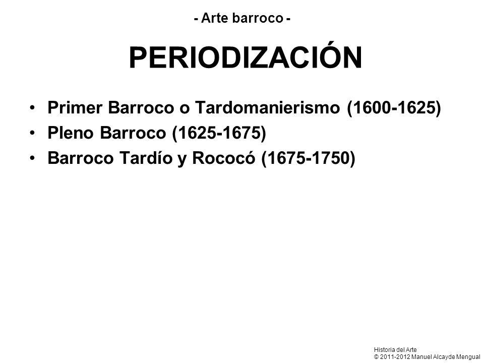PERIODIZACIÓN Primer Barroco o Tardomanierismo (1600-1625)