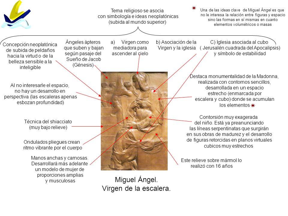 Miguel Ángel. Virgen de la escalera. Tema religioso se asocia