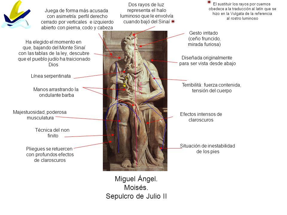 Miguel Ángel. Moisés. Sepulcro de Julio II Dos rayos de luz