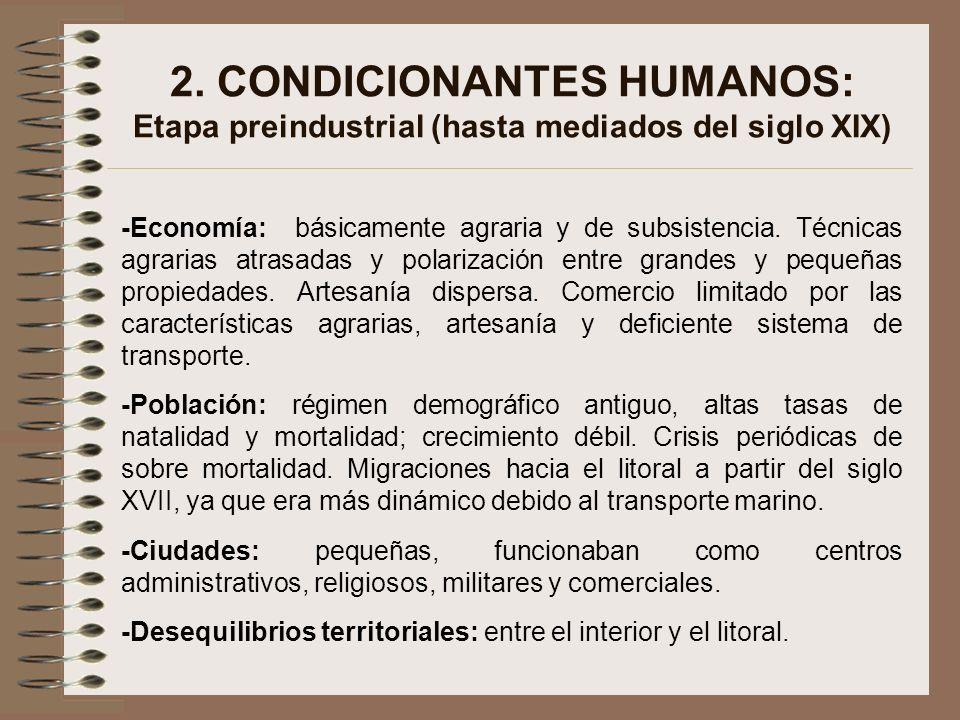 2. CONDICIONANTES HUMANOS: Etapa preindustrial (hasta mediados del siglo XIX)