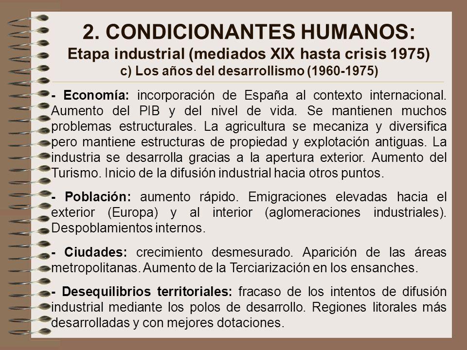 2. CONDICIONANTES HUMANOS: Etapa industrial (mediados XIX hasta crisis 1975) c) Los años del desarrollismo (1960-1975)