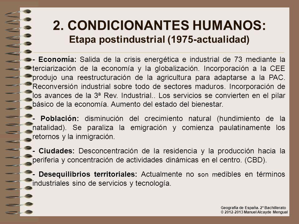 2. CONDICIONANTES HUMANOS: Etapa postindustrial (1975-actualidad)