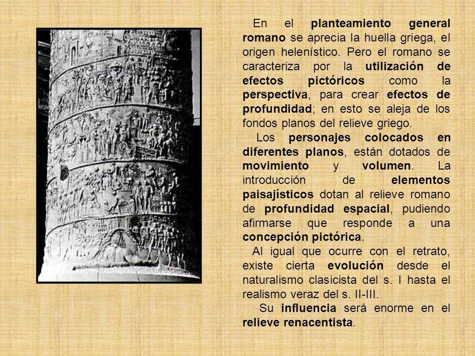 En el planteamiento general romano se aprecia la huella griega, el origen helenístico. Pero el romano se caracteriza por la utilización de efectos pictóricos como la perspectiva, para crear efectos de profundidad; en esto se aleja de los fondos planos del relieve griego.