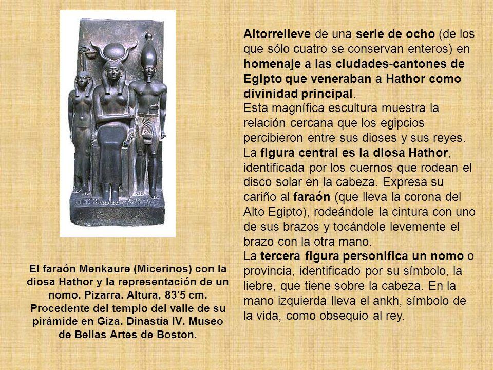 Altorrelieve de una serie de ocho (de los que sólo cuatro se conservan enteros) en homenaje a las ciudades-cantones de Egipto que veneraban a Hathor como divinidad principal.