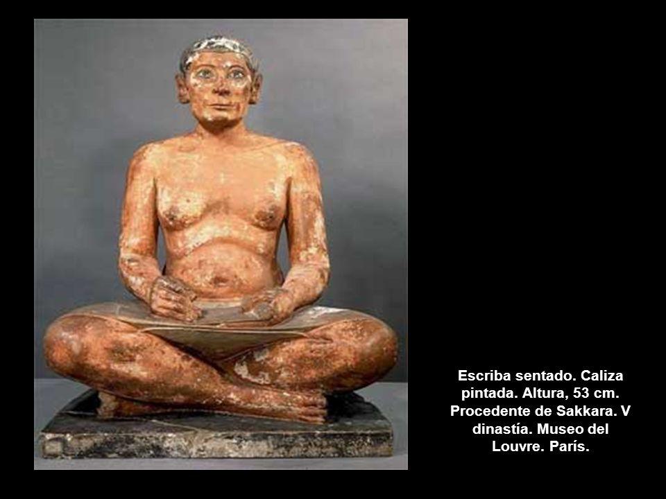 Escriba sentado. Caliza pintada. Altura, 53 cm. Procedente de Sakkara