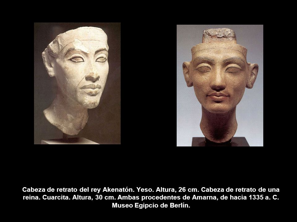 Cabeza de retrato del rey Akenatón. Yeso. Altura, 26 cm