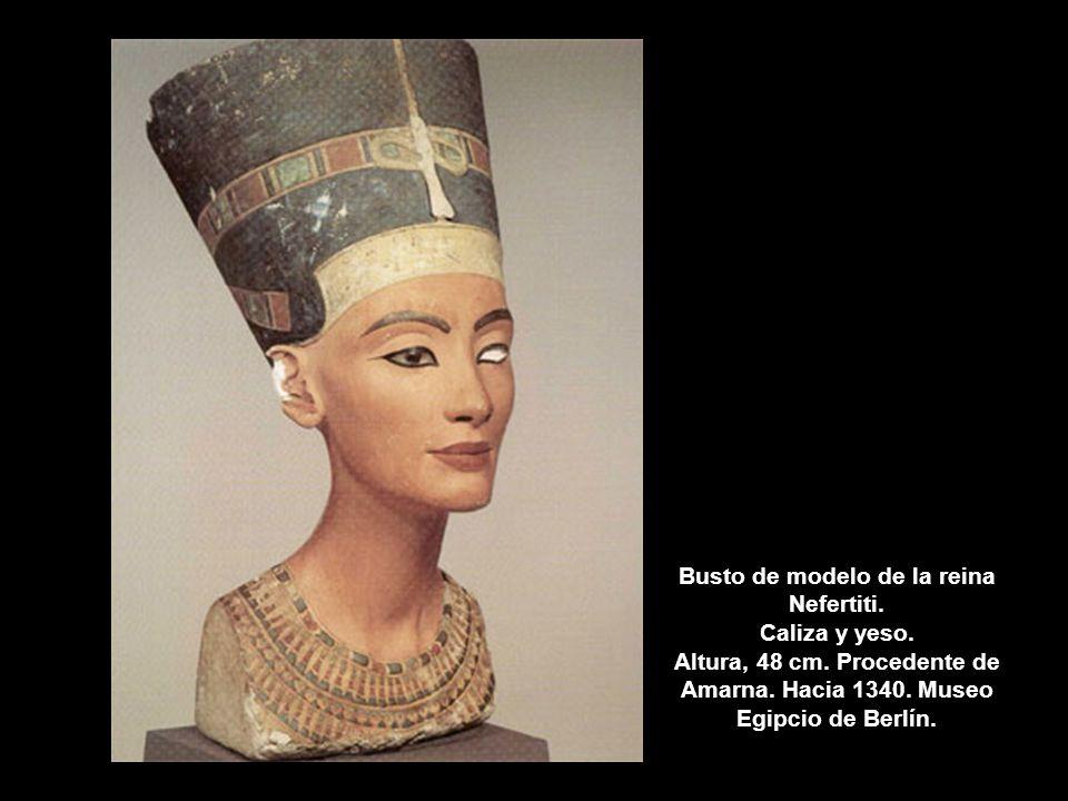 Busto de modelo de la reina Nefertiti. Caliza y yeso. Altura, 48 cm
