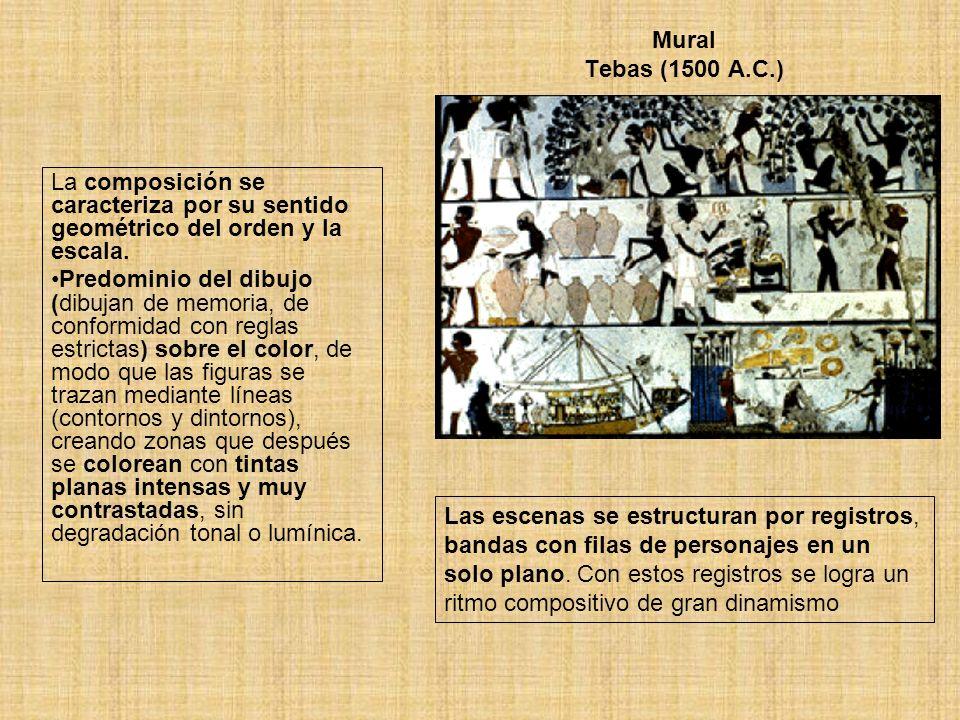 Mural Tebas (1500 A.C.) La composición se caracteriza por su sentido geométrico del orden y la escala.