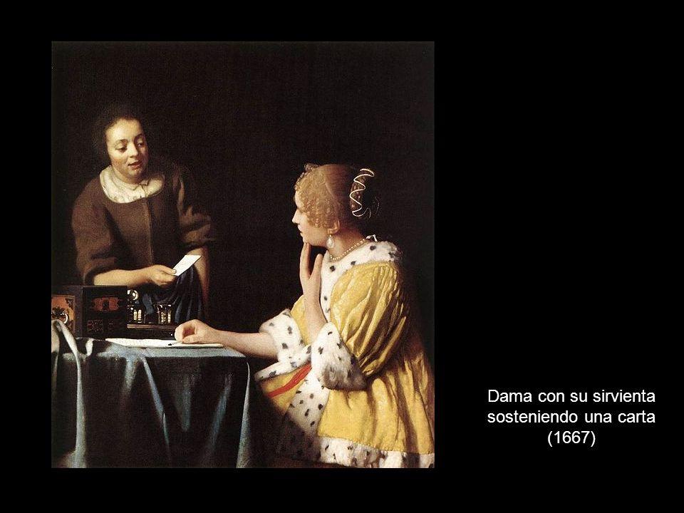 Dama con su sirvienta sosteniendo una carta (1667)