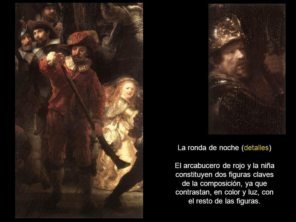 La ronda de noche (detalles) El arcabucero de rojo y la niña