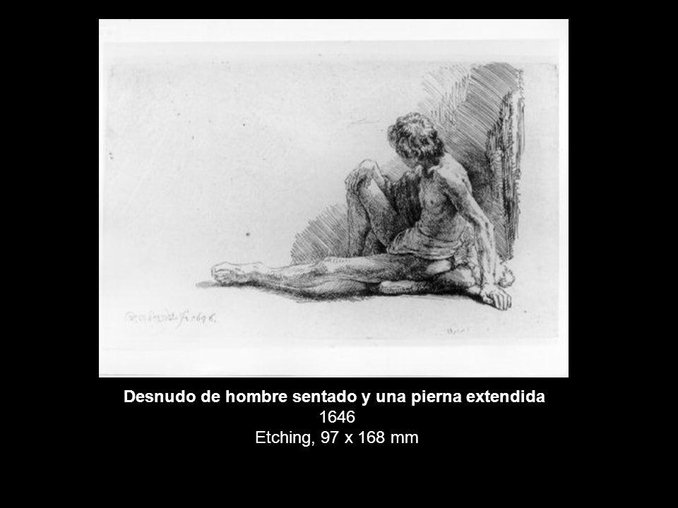 Desnudo de hombre sentado y una pierna extendida 1646 Etching, 97 x 168 mm