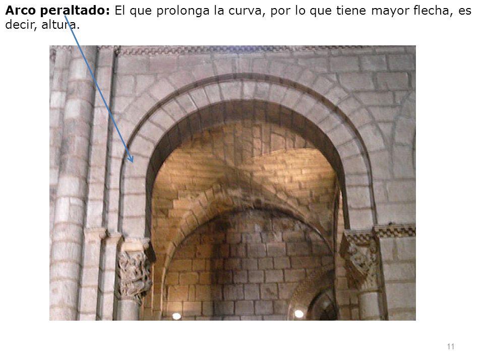 Arco peraltado: El que prolonga la curva, por lo que tiene mayor flecha, es decir, altura.