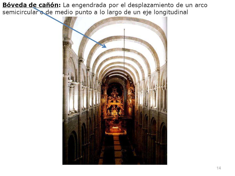 Bóveda de cañón: La engendrada por el desplazamiento de un arco semicircular o de medio punto a lo largo de un eje longitudinal