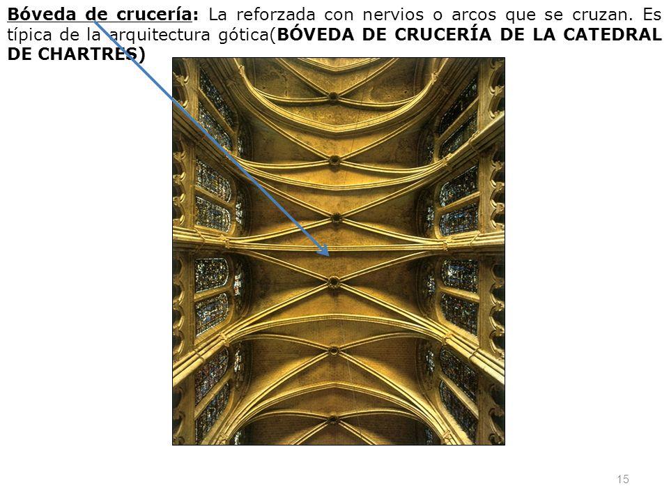 Bóveda de crucería: La reforzada con nervios o arcos que se cruzan