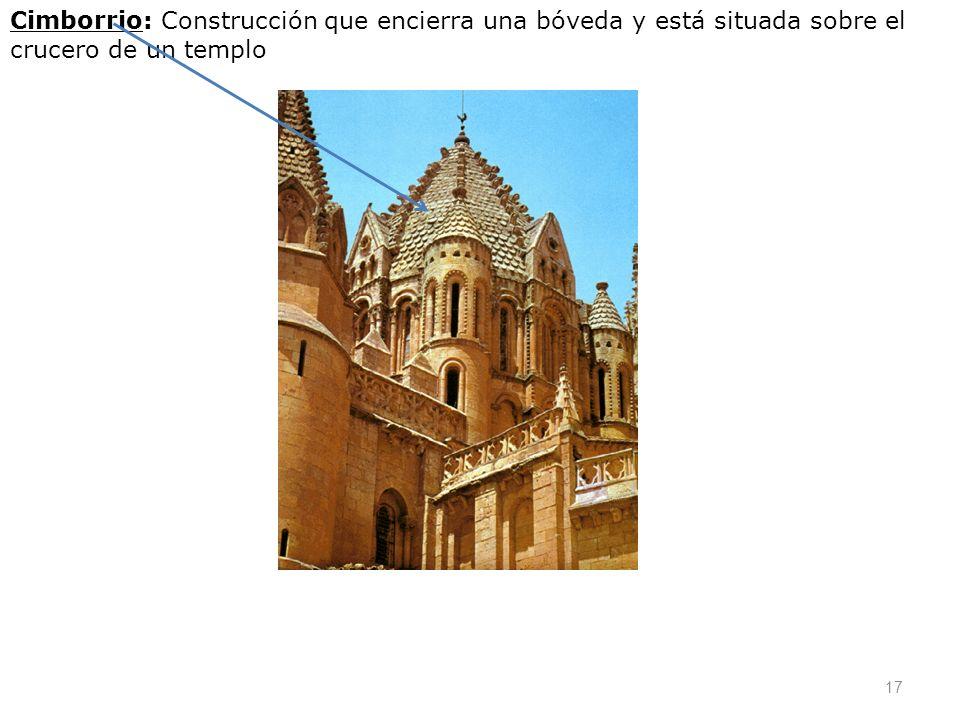 Cimborrio: Construcción que encierra una bóveda y está situada sobre el crucero de un templo