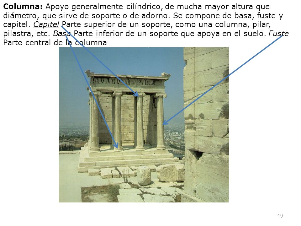 Columna: Apoyo generalmente cilíndrico, de mucha mayor altura que diámetro, que sirve de soporte o de adorno.