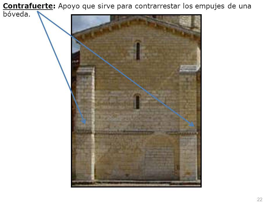 Contrafuerte: Apoyo que sirve para contrarrestar los empujes de una bóveda.