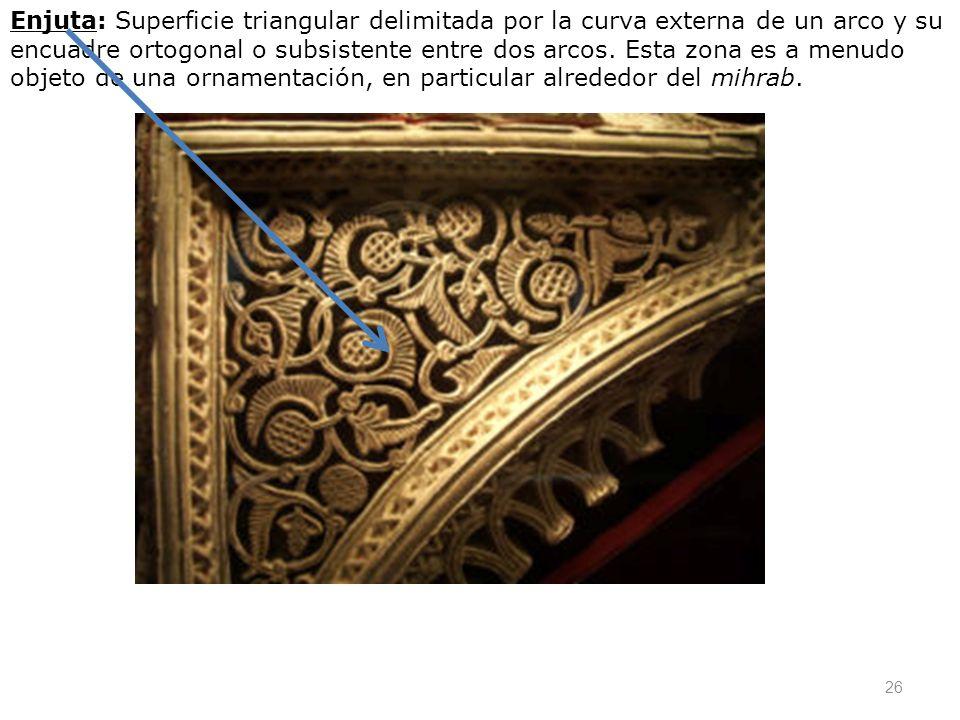 Enjuta: Superficie triangular delimitada por la curva externa de un arco y su encuadre ortogonal o subsistente entre dos arcos.