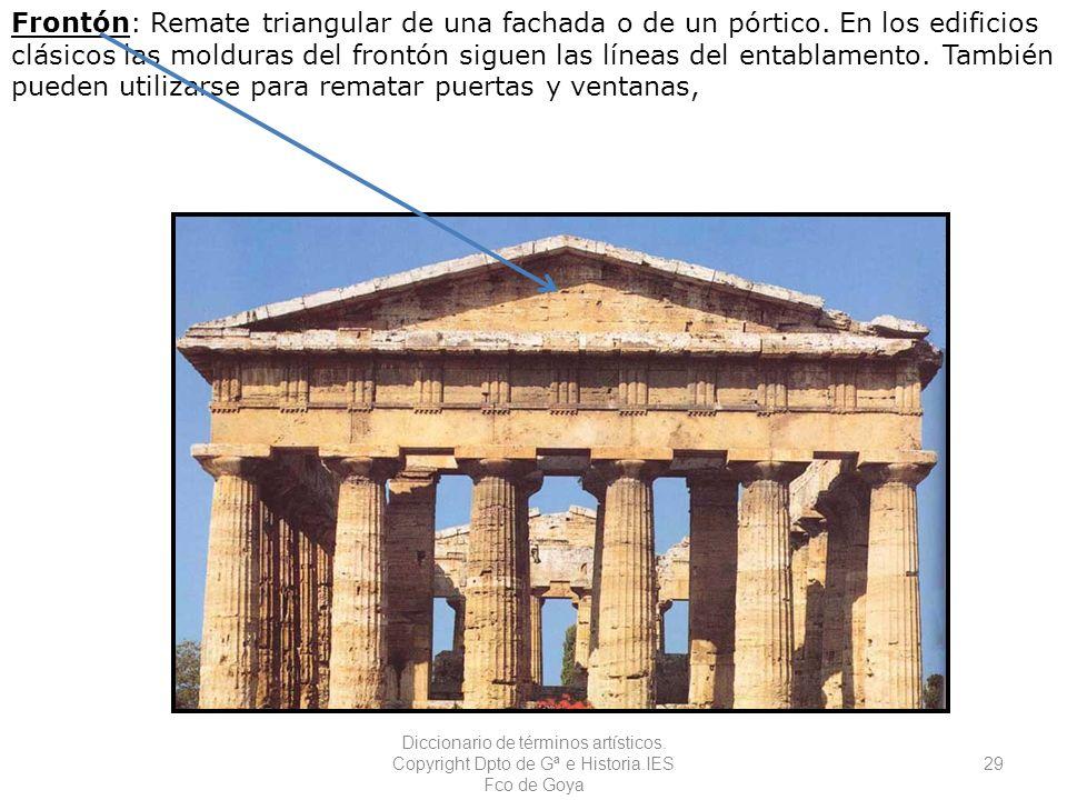 Frontón: Remate triangular de una fachada o de un pórtico