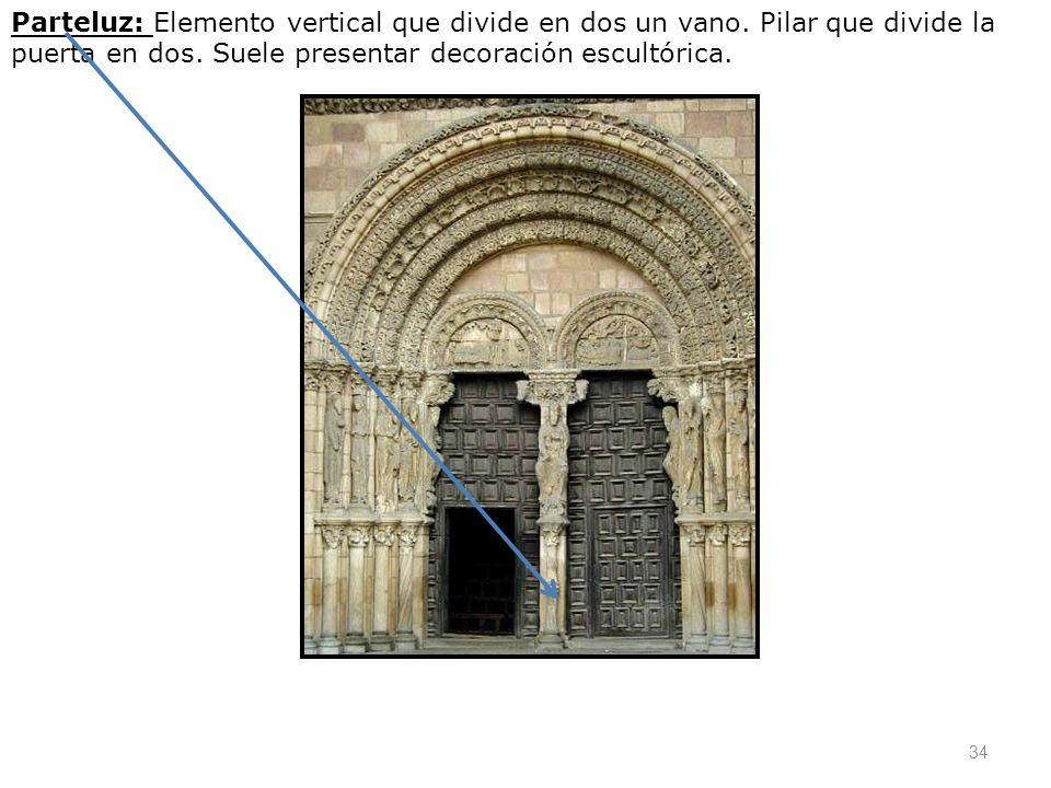 Parteluz: Elemento vertical que divide en dos un vano