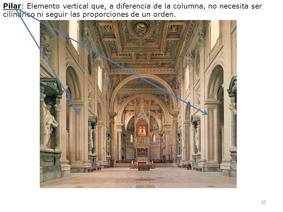 Pilar: Elemento vertical que, a diferencia de la columna, no necesita ser cilíndrico ni seguir las proporciones de un orden.