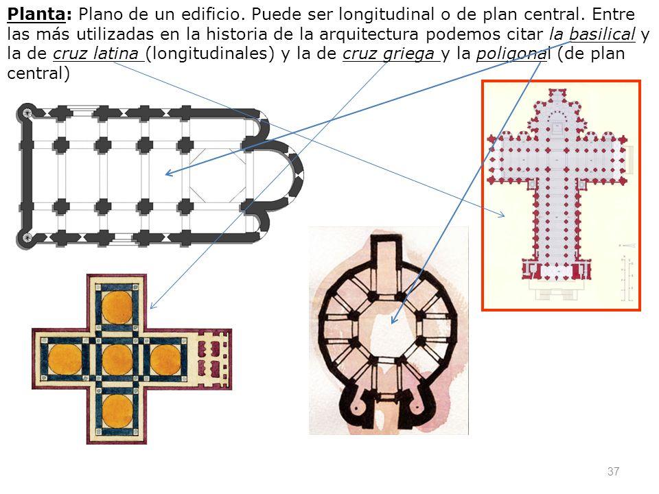 Planta: Plano de un edificio. Puede ser longitudinal o de plan central