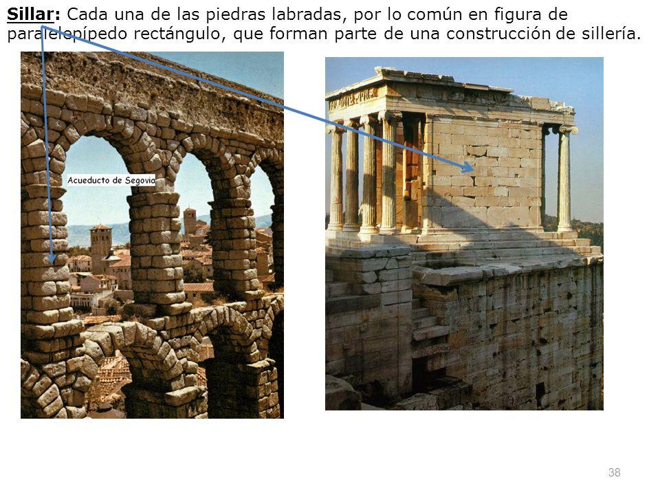 Sillar: Cada una de las piedras labradas, por lo común en figura de paralelepípedo rectángulo, que forman parte de una construcción de sillería.