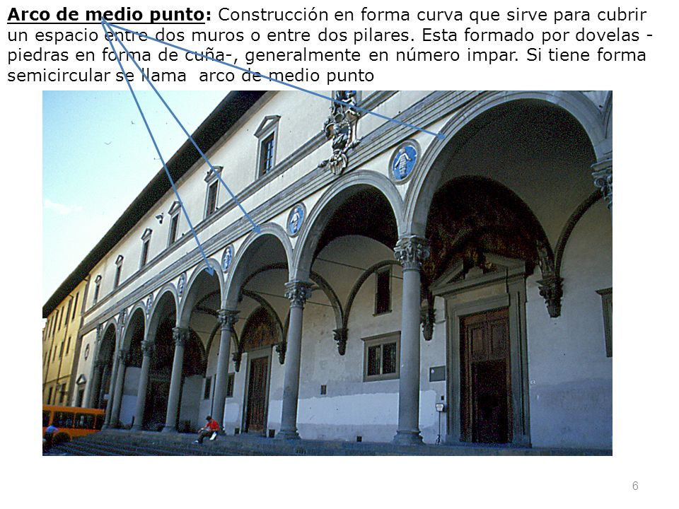 Arco de medio punto: Construcción en forma curva que sirve para cubrir un espacio entre dos muros o entre dos pilares.