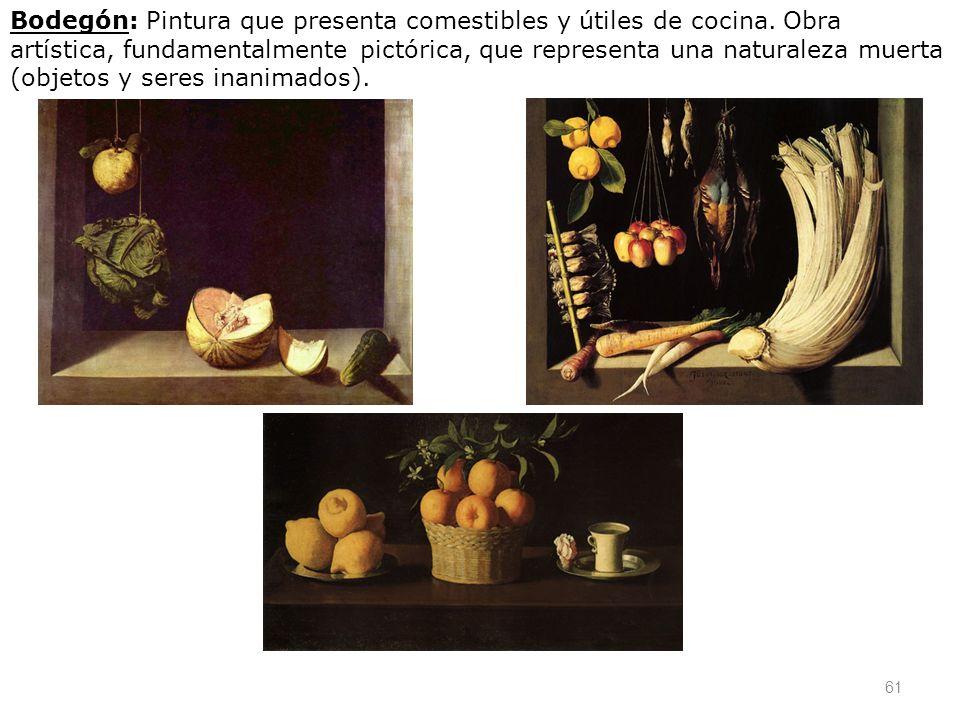 Bodegón: Pintura que presenta comestibles y útiles de cocina