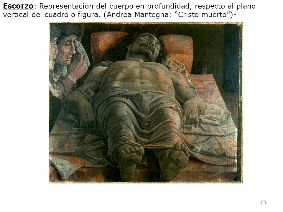 Escorzo: Representación del cuerpo en profundidad, respecto al plano vertical del cuadro o figura.