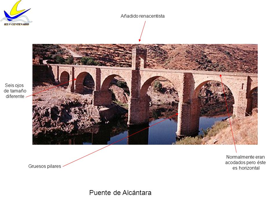 Puente de Alcántara Añadido renacentista Seis ojos de tamaño diferente