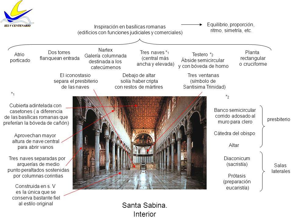 Santa Sabina. Interior Equilibrio, proporción, ritmo, simetría, etc.
