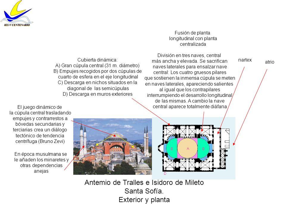 Antemio de Tralles e Isidoro de Mileto Santa Sofía. Exterior y planta