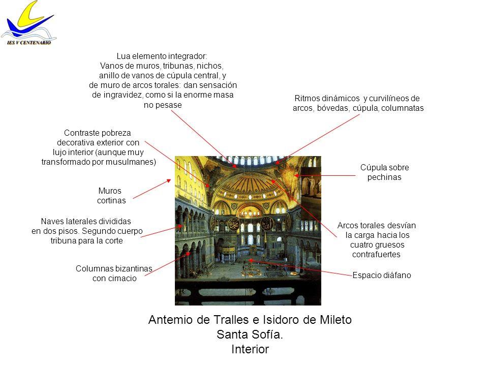 Antemio de Tralles e Isidoro de Mileto Santa Sofía. Interior