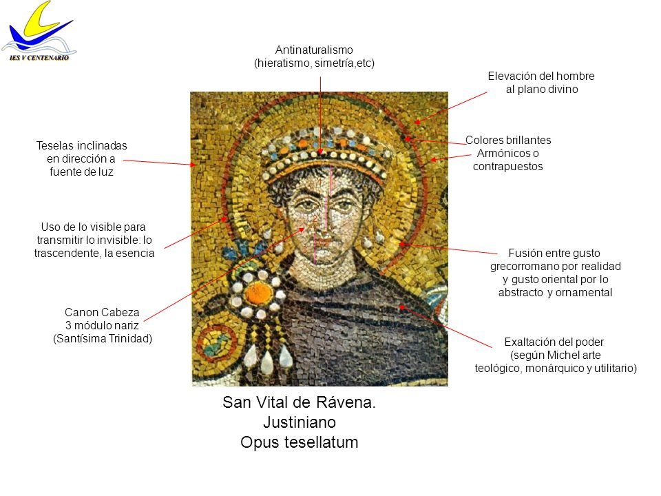 San Vital de Rávena. Justiniano Opus tesellatum Antinaturalismo